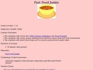 Fast Food Junkie Lesson Plan