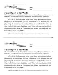 Fastest Sport in the World Lesson Plan