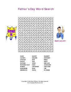 Father's Day Word Search Worksheet