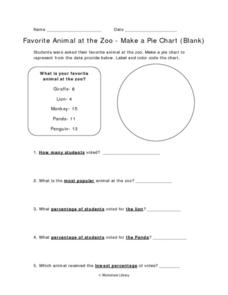 Favorite Animal at the Zoo - Making a Pie Chart Worksheet
