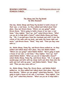 Fearless Fables: The Sheep And the Pig Worksheet