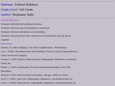 Federal Holidays Lesson Plan