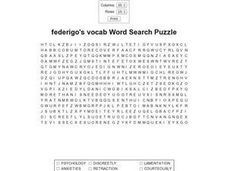 Federigo's Falcon Word Search Puzzle Worksheet