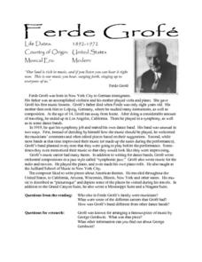 Ferde Grofe Lesson Plan