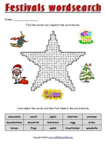 Festivals Word Search Worksheet