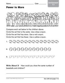 Fewer to More: Enrichment Worksheet