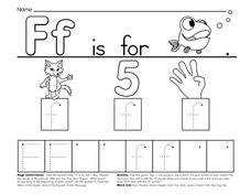 Ff is for Fish, Fox, Five, Fingers Worksheet