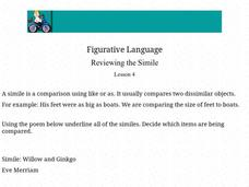 Figurative Language: simile Worksheet