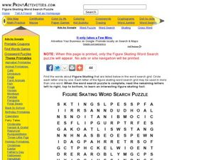Figure Skating Word Search Puzzle Worksheet