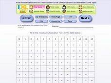 Fill- In Multiplication Grid Problems 20% Open Worksheet