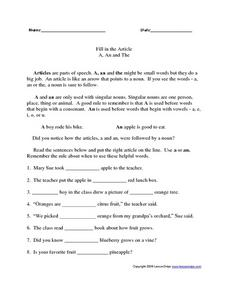 Fill in the Article Worksheet
