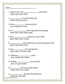 Fill in the blanks to short sentences Lesson Plan