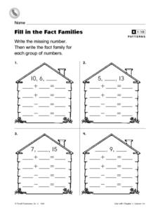 Fill in the Fact Families Worksheet