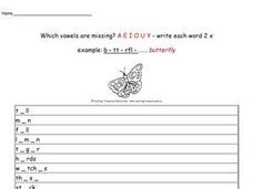 Fill in the Missing Vowels. a, e, i, o, u, y Worksheet