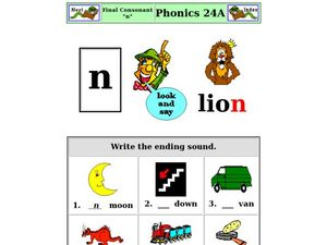 Final Consonant: N Worksheet