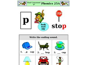 "Final Consonant ""p"" Worksheet"