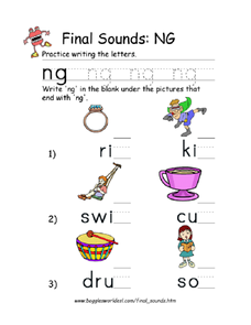 Final Sounds: ng Worksheet