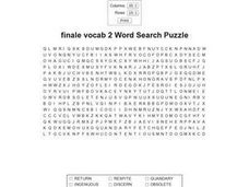 Finale Vocab 2 Word Search Puzzle Worksheet