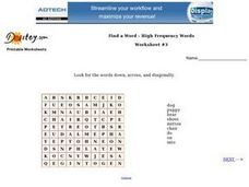 Find a Word--High Frequency Words--Worksheet #3 Worksheet