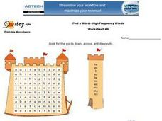 Find a Word--High Frequency Words--Worksheet #6 Worksheet