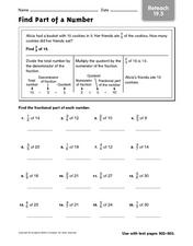 Find Part of a Number - Reteach 19.5 Worksheet