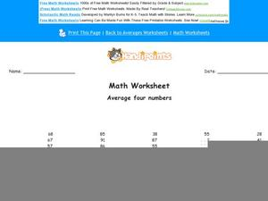 Find the Average Worksheet