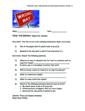 Find the Errors:  Adjective Clauses Worksheet