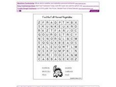 Find the Fall Harvest Vegetables Word Search Worksheet