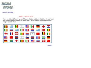 Find The Flags Puzzle Worksheet