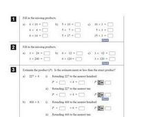 Find the Missing Products Worksheet