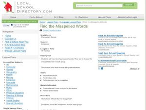 Find the Misspelled Words Lesson Plan
