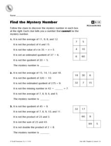 Find the Mystery Number Enrichment Worksheet Worksheet