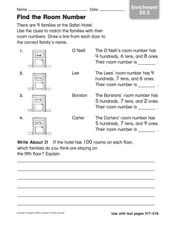 Find the Room Number Enrichment 20.2 Worksheet