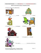 Find the Scary Creatures - Prepositions of Place Worksheet