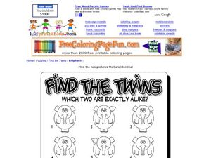 Find the Twins: Elephants Worksheet