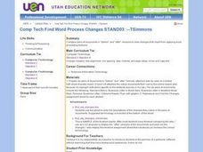 Find Word Processing Changes Lesson Plan