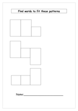 Find words to fit these patterns Worksheet