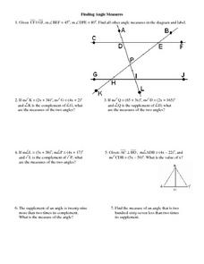 Finding Angle Measures Worksheet