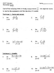 Finding Limits Worksheet