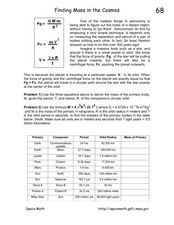 Finding Mass in the Cosmos Worksheet