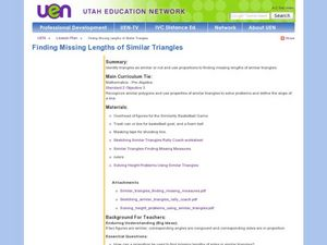 Finding Missing Lengths of Similar Triangles Lesson Plan