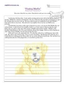 Finding Muffin: Writing Practice Worksheet