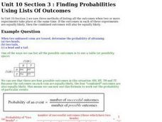 Finding Probabilities Using Lists of Outcomes Worksheet