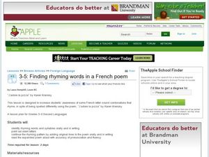 Finding Rhyming Words in a French Poem Lesson Plan