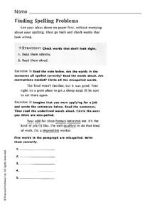 Finding Spelling Problems Worksheet