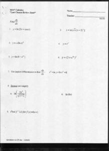 Finding the Derivative Worksheet