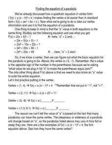 Finding The Equation of a Parabola Worksheet