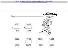 Finding the Missing Number in Subtraction Problems Worksheet