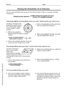 Finding the Probability of an Outcome Worksheet