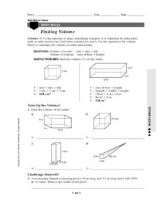 Finding Volume Worksheet